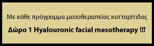 Με κάθε πρόγραμμα μεσοθεραπείας κυτταρίτιδας Δώρο 1 Hyalouronic facial mesotherapy